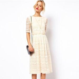 ASOS Cream White Midi Lace Dress